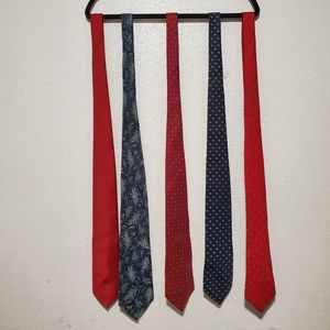 4 Christian dior ties red blue green leaf palm